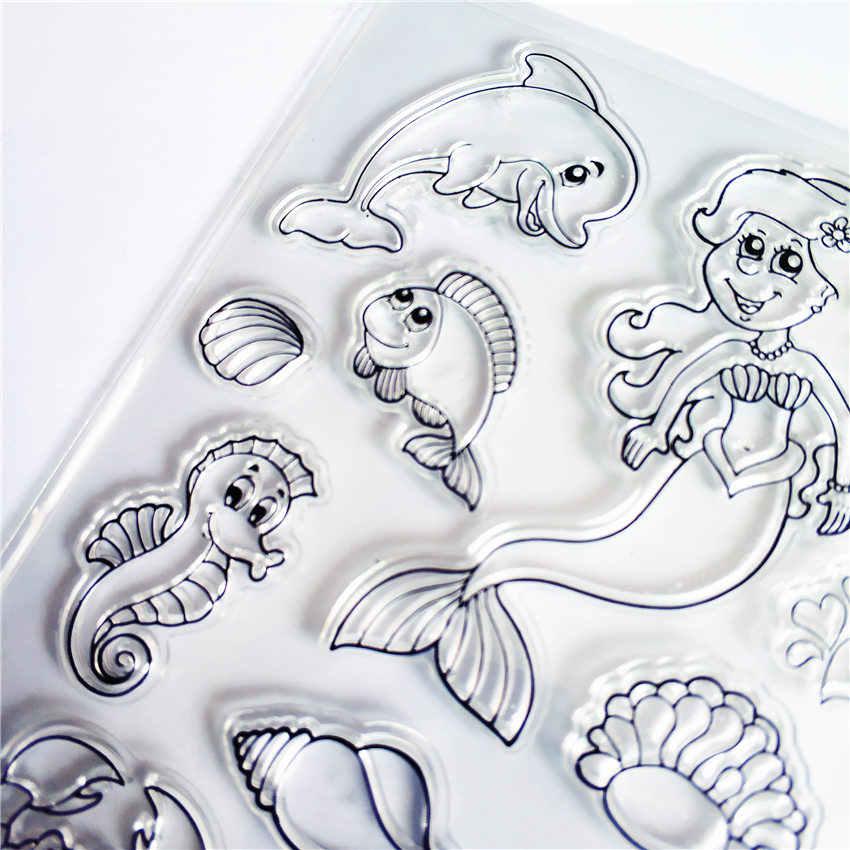PANFELOU animais Marinhos de Silicone Transparente Claro Selo/Selo para scrapbooking DIY/álbum de fotos claro Decorativo folhas de carimbo