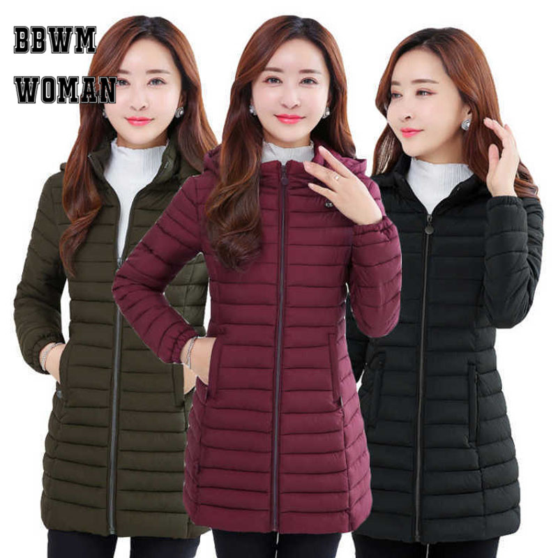 Lightweight Cotton Long   Parkas   Solid Color Long Sleeve Winter Warm Elegant Plus Size Female Padded Coat ZO1777