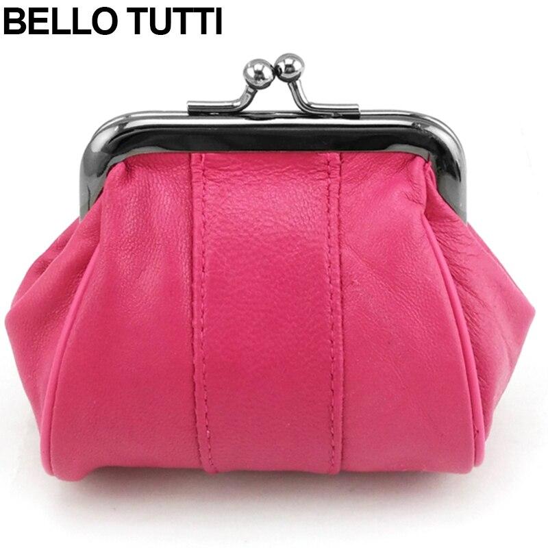 BELLO TUTTI Genuine Leather Mini Coin Purse Female Wallets Girls Sheepskin Change Purse Women's Small Bags