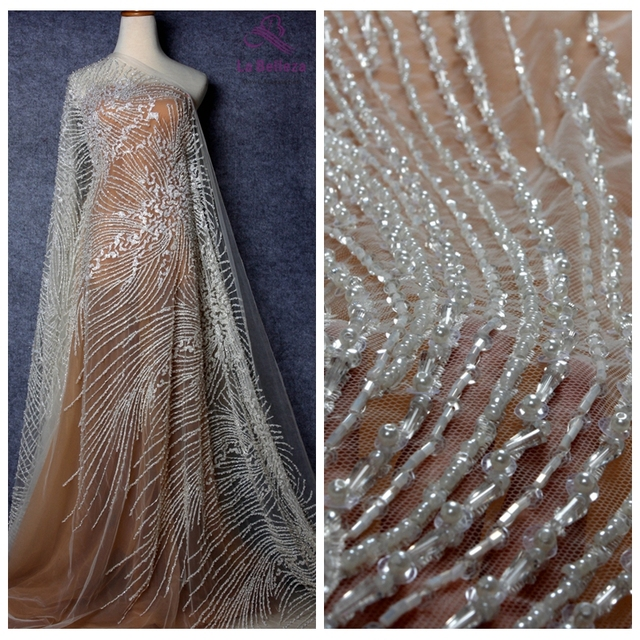 La Belleza 1 yard new beautiful fashion design pearls crystal sequins hand made super heavy beaded wedding dress lace fabric