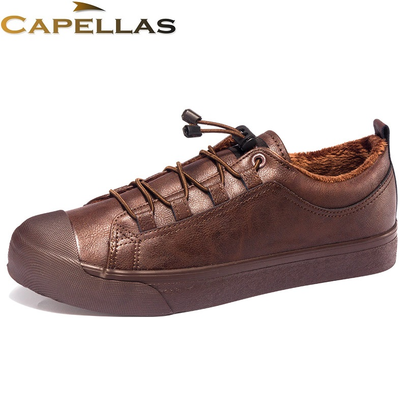 CAPELLAS New Arrival Casual Men`s Winter Shoes Warm Plush Fur Leather Shoes for Mens Casual Shoes Size 39-44 Men Shoes Zapatos 2017 new spring imported leather men s shoes white eather shoes breathable sneaker fashion men casual shoes