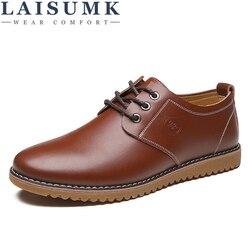 LAISUMK Casual Leder Mode Frühjahr Herbst Komfortable Männer Freizeit Schuhe Große Größe Atmungs Wohnungen Business