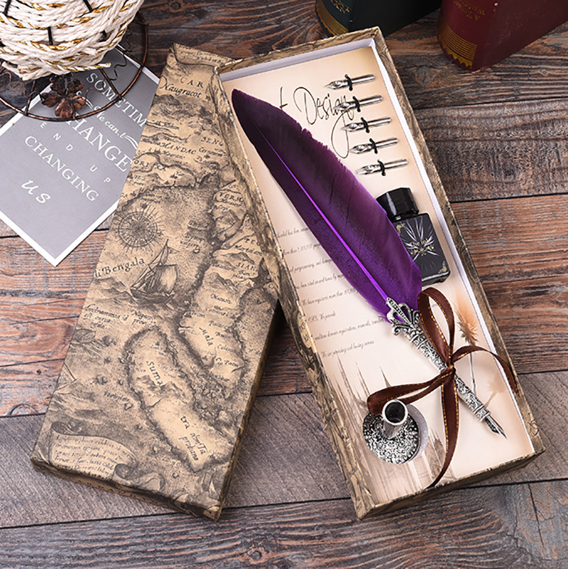 1Set Turkey Feather Dip Calligraphy With 5 Nib Gift Quill Pen Writing Ink Set Gift Box Wedding Fountain Pen Decoration