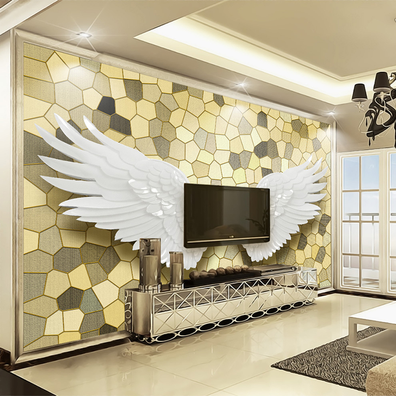 Custom 3D Photo Wallpaper Angel Wings Mosaic Stone Pattern Modern Living Room TV Background Self-adhesive Mural Papel De Parede