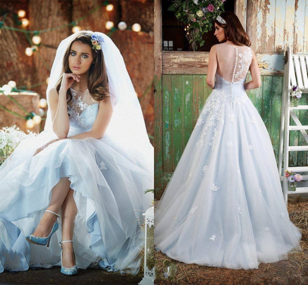Wedding Gown With Blue: Bohemian Ice Blue Colorful Wedding Dresses With Color