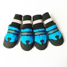 4 pces não-deslizamento sapatos de cachorro de estimação roupas de chuva à prova dwaterproof água botas quentes segurança reflexiva ao ar livre cão meia sapatos para cães médios labrador