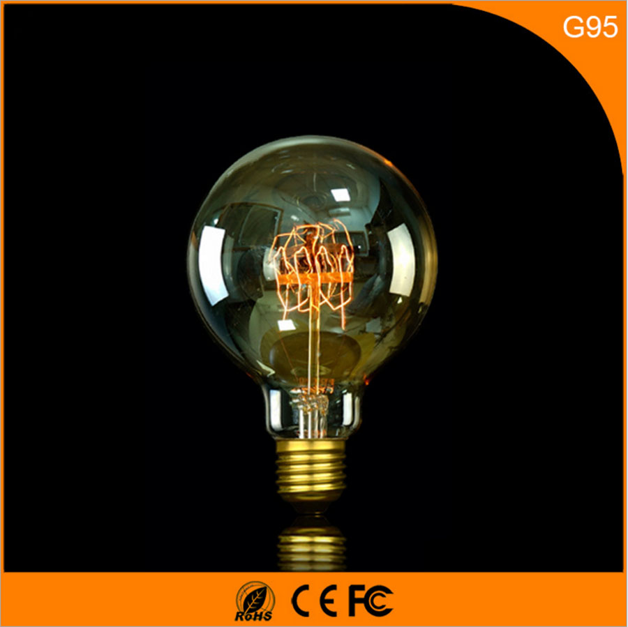50Pcs 40W Vintage Design Edison Filament B22 E27 LED Bulb,G95 Energy Saving Decoration Lamp Replace  Incandescent Light AC220V 5pcs e27 led bulb 2w 4w 6w vintage cold white warm white edison lamp g45 led filament decorative bulb ac 220v 240v
