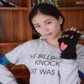 Марка Зима Без Пальцев Перчатки женские Варежки Пушистый Толстый Медведь Cat Плюшевые Лапы Половины Пальцев Перчатки Половина Крышки Femme Перчатки