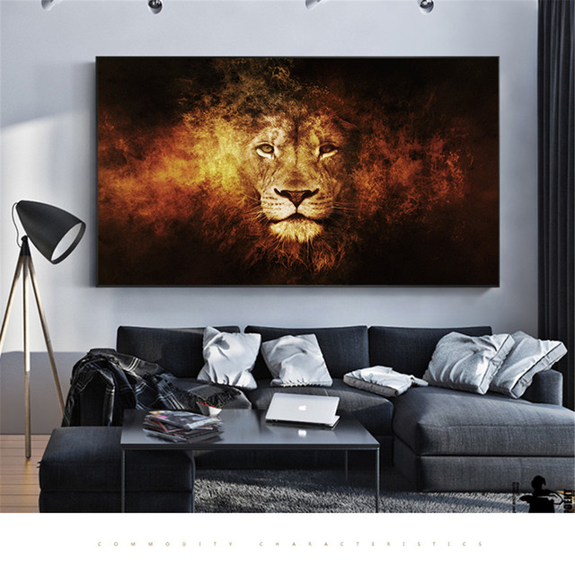Canvas Painting Abstract Lion Head Fire Animal Wall Art Decoration Home Decor Pictures For Living