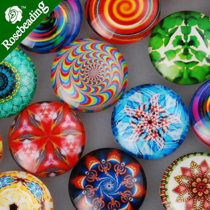 25mm ronde motif verre cabochon, géométrie mixte photos, dos plat,  épaisseur 6.5mm, vendu 20 pcs lot-C4311 . 6c33e469a584