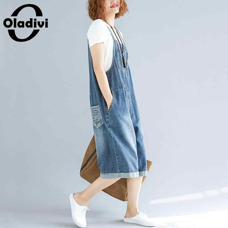 Oladivi плюс размер женские джинсовые комбинезоны женские повседневные джинсы комбинезон без рукавов с открытой спиной Свободный комбинезон Ретро без бретелек комбинезон брюки