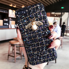 Luxury Brand 3D Pearl Bee glitter hard case for iphone 5 s 6 7 8 plus X XS MAX XR cover for Samsung Galaxy S8 S9 note 9 S10 E(China)