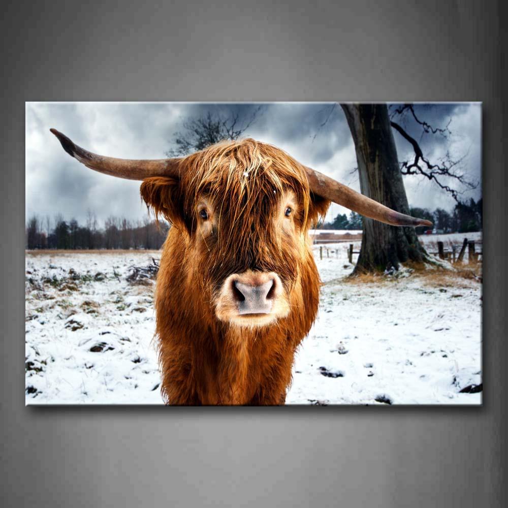Encadrée mur Art photos vache Snowfield arbre toile impression Animal moderne affiches avec des cadres en bois pour salon décor