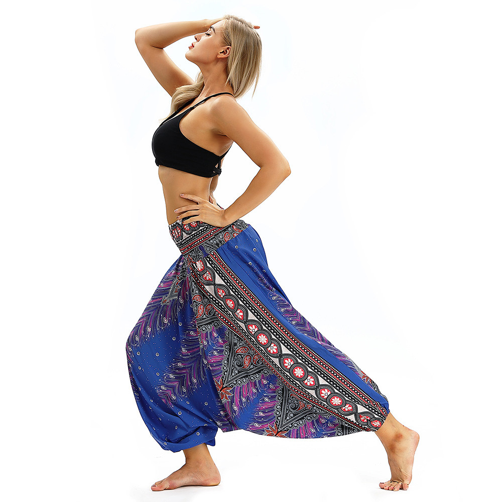 Women Men Pants Casual Woman High Waist Wide Leg Harem Trousers Baggy Boho Loose Aladdin Festival Hippy Jumpsuit Print Lady pant 70