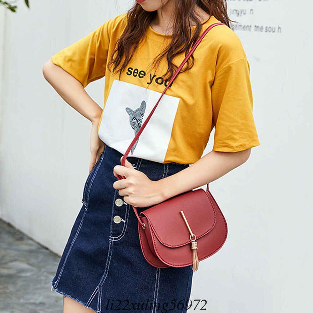 Mulheres Moda Couro PU Ferrolho Sólidos Shoulder Messenger Bags Lady Mini Fringe Borlas Bolsas Shell Presente Novo