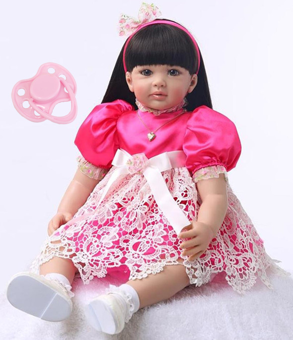 Silicone Reborn Baby Doll Toys 60cm Princess Toddler Babies Lovely Birthday Present Limited Collection Doll Girls Brinquedos disney princess brass key 2003 holiday collection porcelain doll snow white