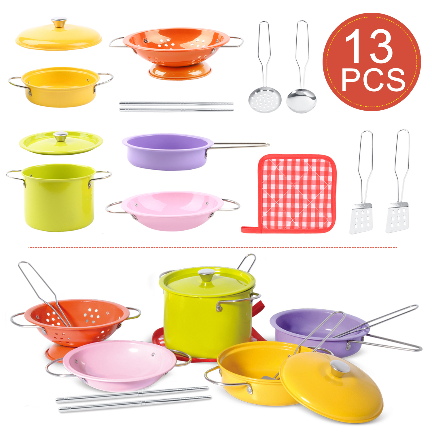 13PCS Educational Colorful Pretend Play Kitchen Toy Stainless Steel Kitchenware Pot, Chopsticks,Dish Set For Kid