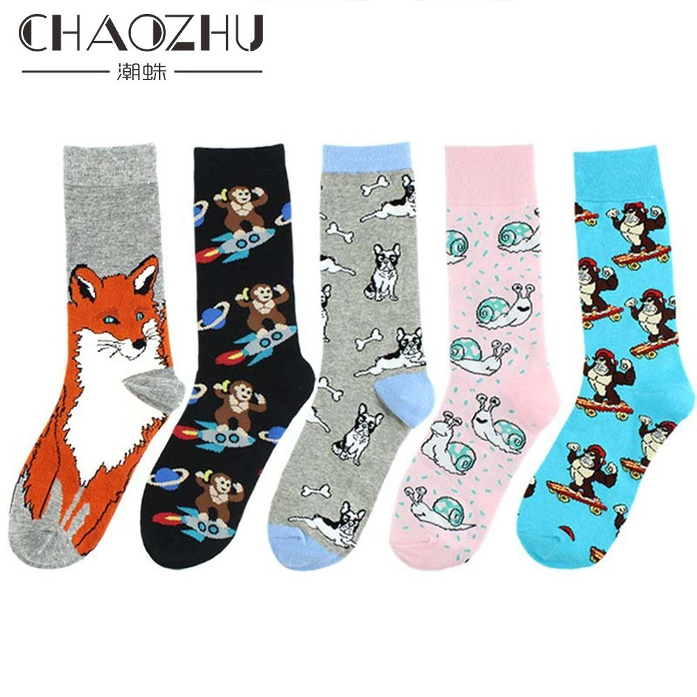 CHAOZHU Hombres Calcetines Divertidos Dibujos Animados Fox Mono Moda Unisex Cotton Knitting Causal Hip Hop Street Cool Socks