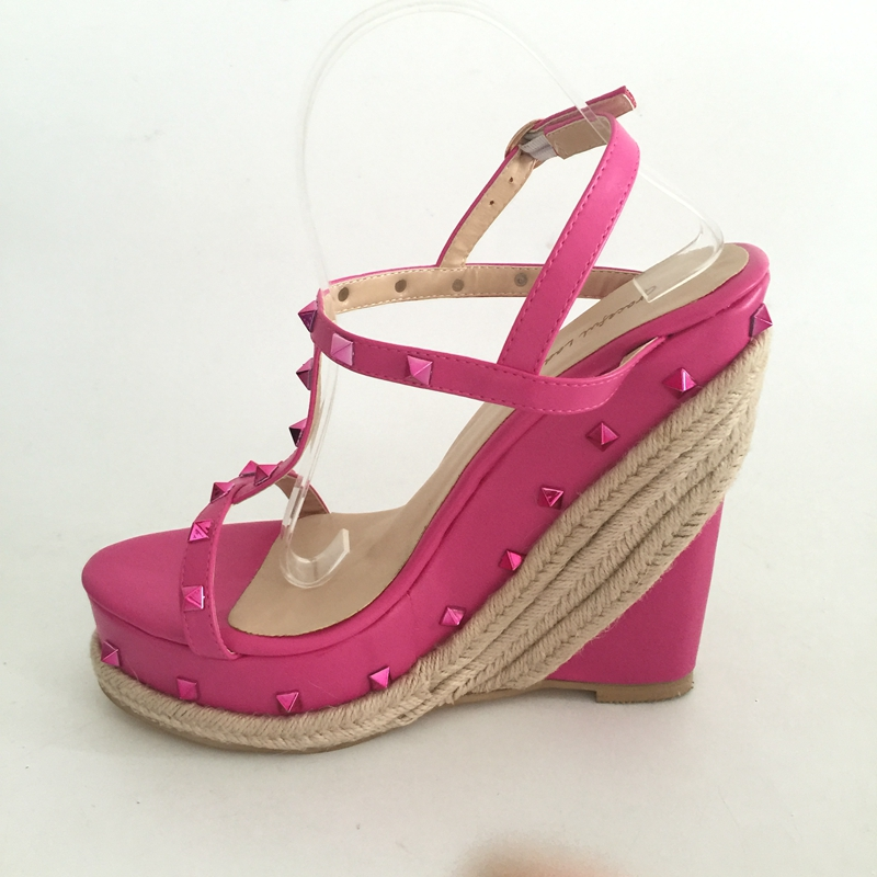 Sweety Women Sandals Wedges High Heels Patent Leather T-strap Ankle Buckle Strap Wedge Rivets Rope Heels Summer Party Sandals