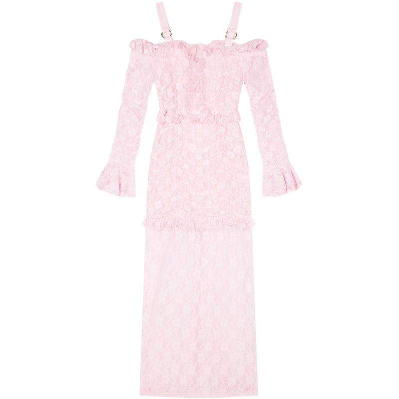 ¡Novedad de 2019! vestido largo YIGELILA de encaje rosa para mujer, vestido liso de vaina imperial con mangas acampanadas y cuello oblicuo 62990 - 4