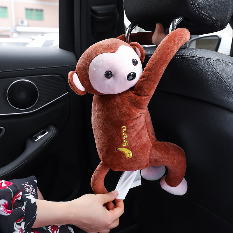Lovely Portable Monkey Tissue Box Home Office Auto Automobile Car Tissue Box Cover Napkin Paper Holders Cases Car Organization