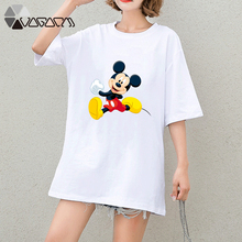 2019 Summer Clothes Women Casual  Mickey Mouse Cartoon Tops Tshirt Short Sleeve Tees Loose Plus Size T Shirts