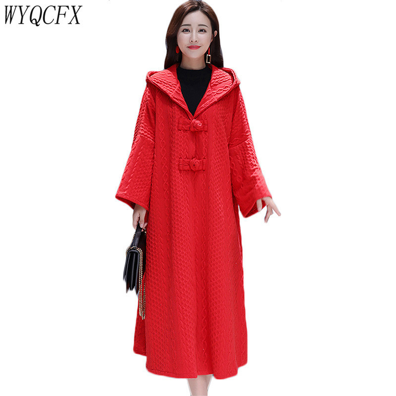Elegant Windbreaker Long Coat 2019 Fashion Loose Hooded   Trench   Coat For Women Autumn Winter Solid Color Casual Cardigan Overcoat
