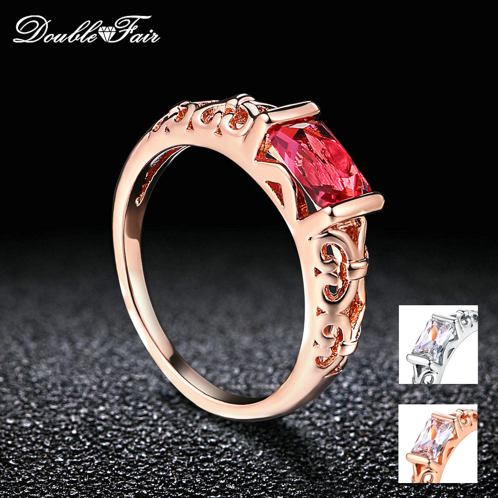 Double Fair Brand Red Crystal Wedding Rings For Women Rose Gold Color / Silver Tone Fashion Retro Engagement Ring Jewelry DFR368