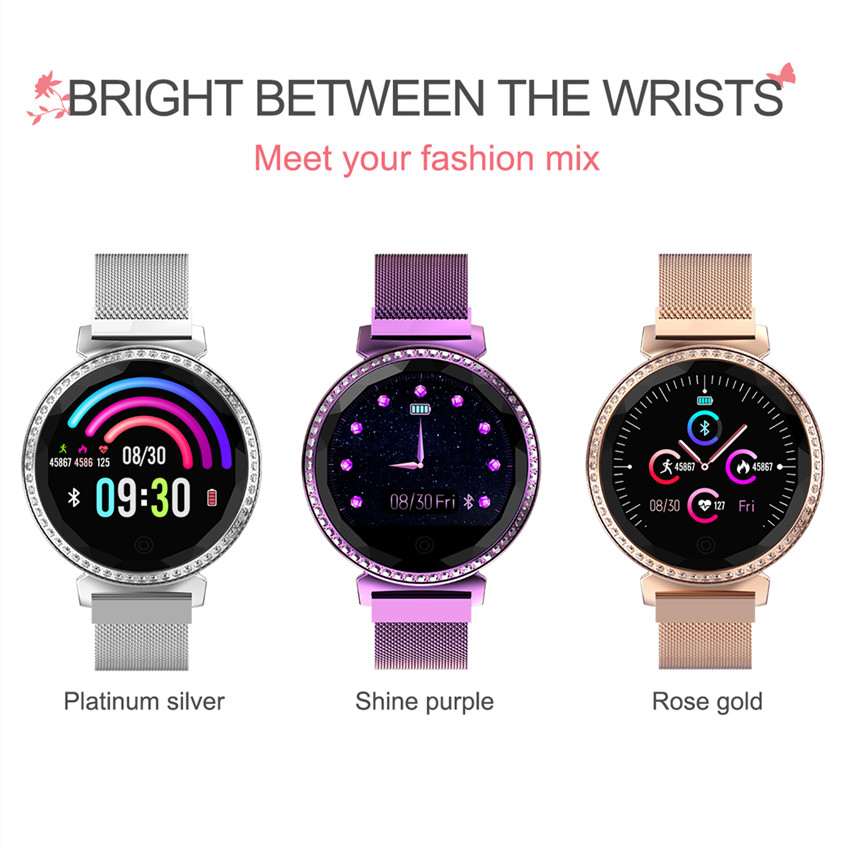 Image 5 - ASKMEER MC11 Women Smart Bracelet Luxury Rhinestone Smart Band Heart Rate Blood Pressure Monitor Female Message Reminder Watch-in Smart Watches from Consumer Electronics