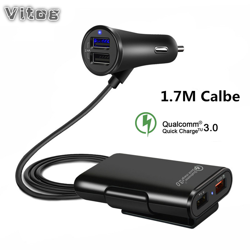 Car-Charger Cord-Cable Fast-Adapter Universal Usb Quick-Qc3.0 4-Ports With For MPV