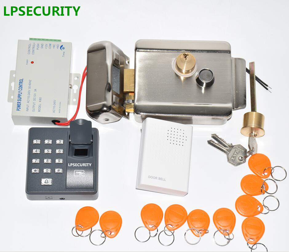 Image 3 - LPSECURITY 12VDC fingerprint RFID access control Electric Gate Door Lock kit with 10 ID tags for home factory Gate Door-in Access Control Kits from Security & Protection