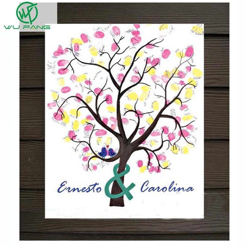 ̿̿̿(•̪ )30*40cm Fingerprint Wedding Tree and inkpad Wedding Guest ...