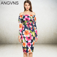 ANGVNS Lady Party Dresses 2017 Spring Winter Fashion Vintage Women Off Shoulder Casual Midi High Waist Floral Print Pencil Dress