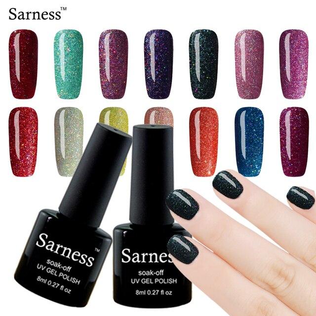 Sarness 8ML Shimmer UV Gel Nail Art Colourful Nail Polish Soak Off ...
