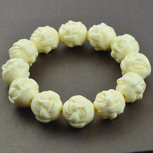 US $7 68 |KYSZDL Buddha beads bracelets 17x19mm Buddha face imitation ivory  bracelet men wholesale lucky bracelets gifts-in Charm Bracelets from