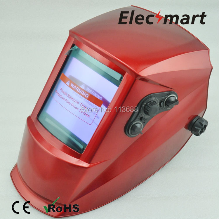 Red big size Auto darkening welding helmet TIG MIG MMA electric welding mask/helmet/welder cap/lens for welding fire flames auto darkening solar powered welder stepless adjust mask skull lens for welding helmet tools machine free shipping
