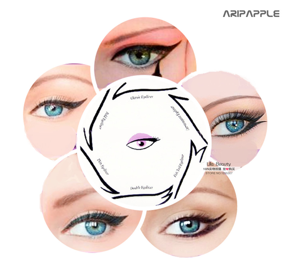 1pack Eye Makeup Stencil Multifunction Eye Stencil 6 Style Template Card Fish Tail Double Wing Eyeshadow Stencils