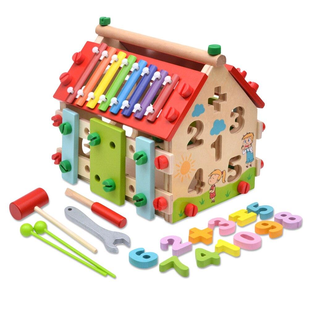 Sagesse maison jouet enfants démontage éducatif mathématiques Musical en bois apprentissage blocs ensemble Montessori mathématiques apprentissage jouet éducatif
