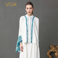 VOA Silk Blouse White Office Shirt Basic Women Tops Plus Size 5XL Casual Flare Long Sleeve Summer Print Elegant Formal B103