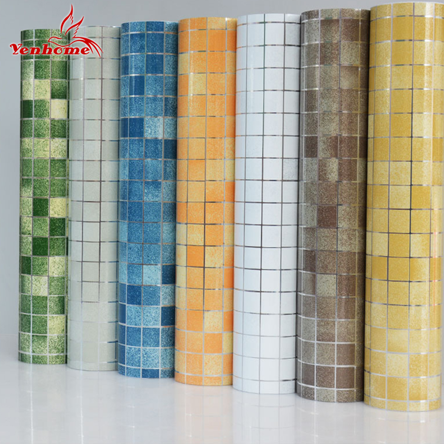 10M PVC Mosaic Wall Sticker Bathroom Waterproof Self adhesive Wallpaper Kitchen Countertop Stickers For Silver Gray Walls Paper