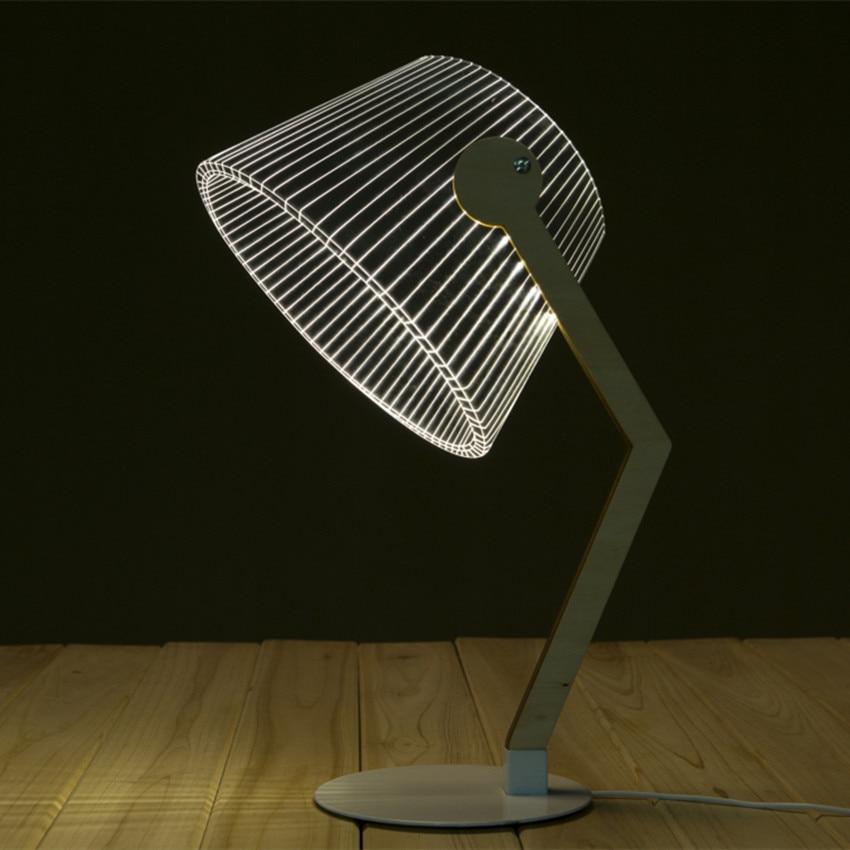 News Item Novelty Light  3D Wood Table Lamp LED Reading Luminous Lamp Lampshades 3D Optical Illusion Night Light Home Decoration