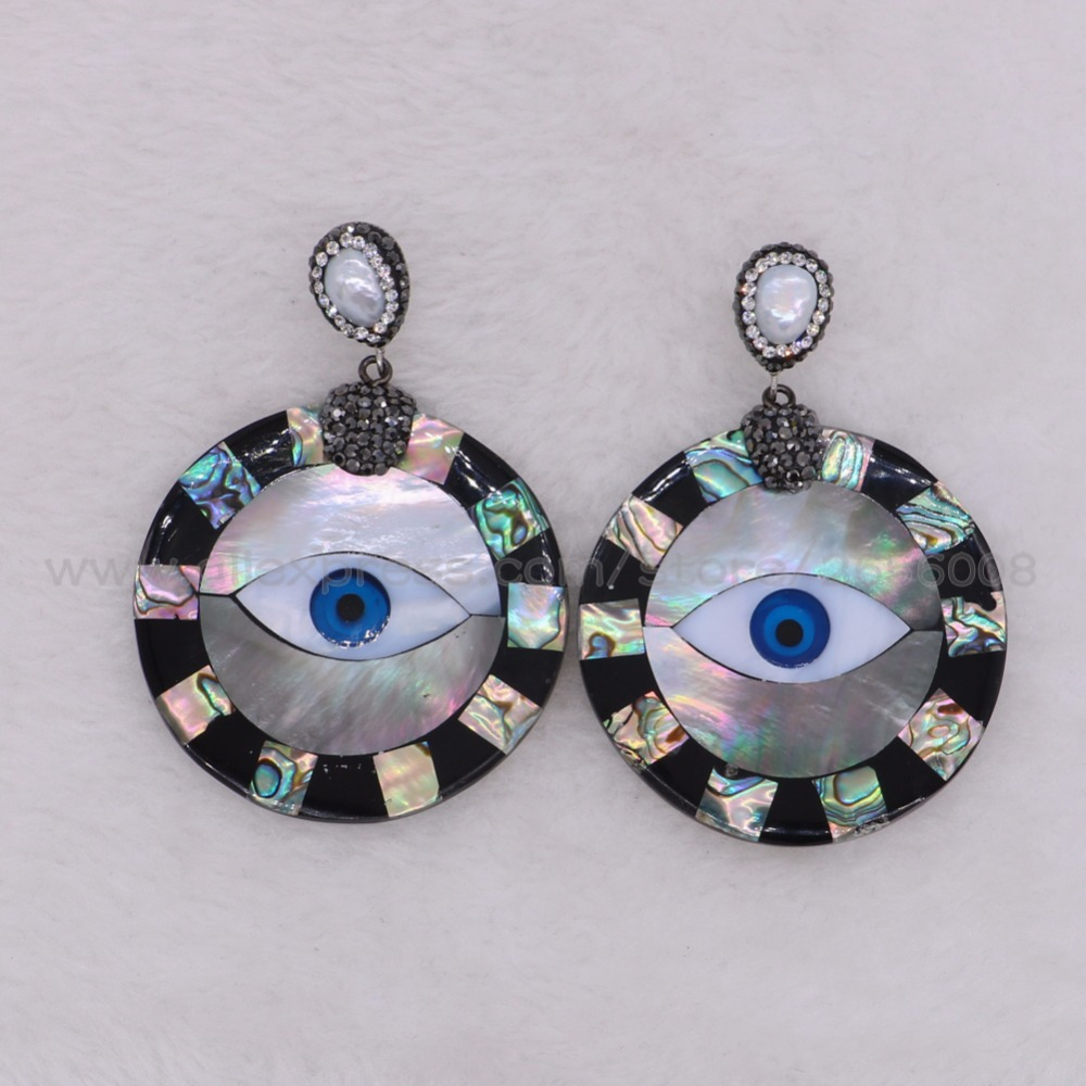 2 Pairs Natural shell earrings shell with abalone earrings round eyes earrings fashion jewelry Gems  jewelry gift for lady2231
