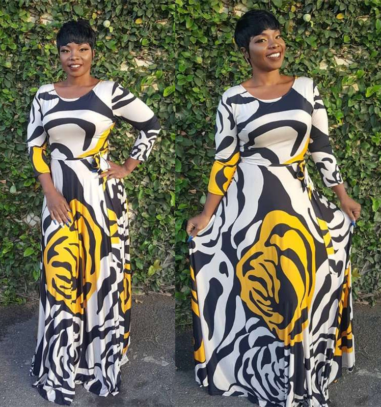 2019  African new fashion casual digital print dress with full skirt