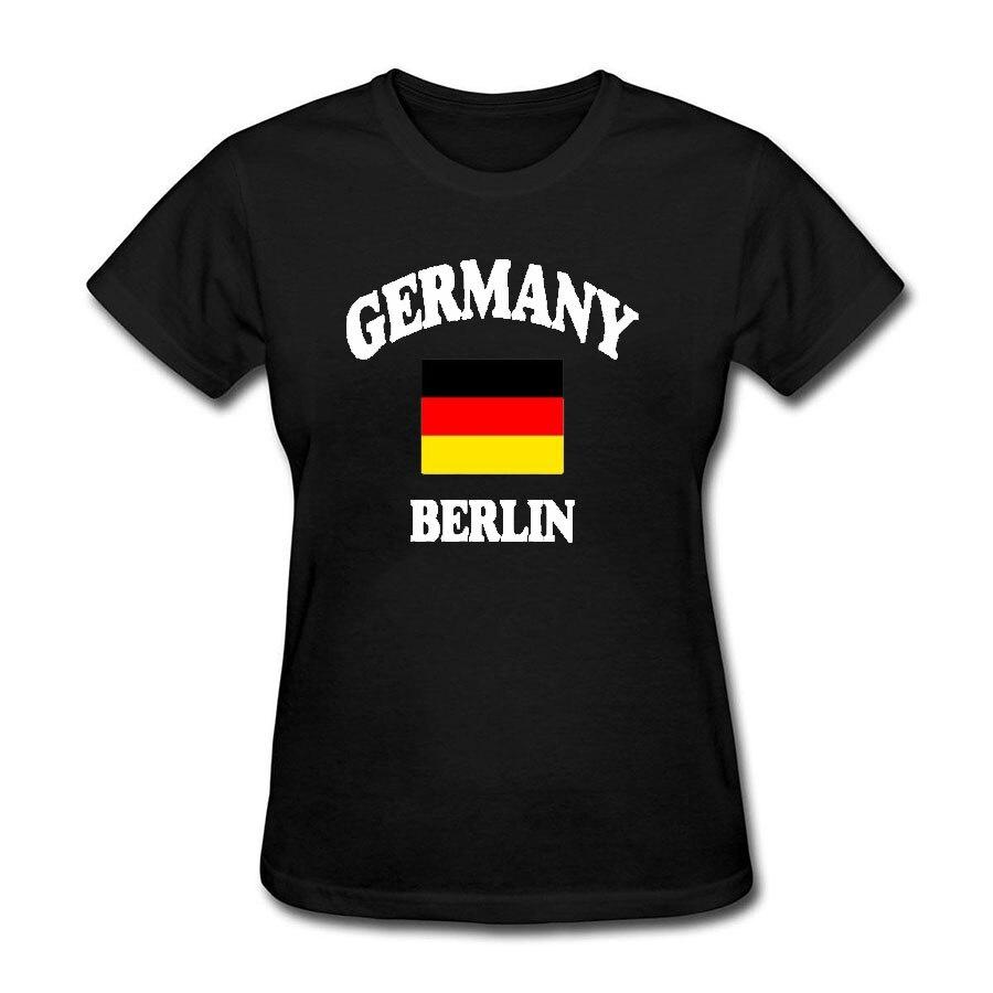 Allemagne Berlin Drôle T Shirts Femmes 2018 D'été D'o-Cou Coton Tumblr Femmes T-shirt Noir T-shirt Femme Top