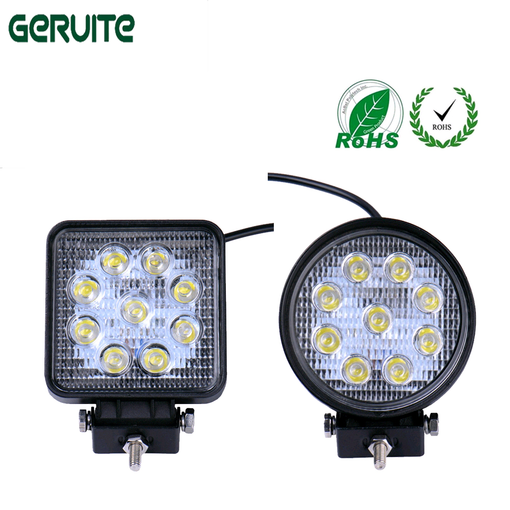 2pcs Universal 27W Auto Car LED Work Light Off-road Driving Spotlight Floodlight Bar Lamp for SUV Truck Tractor running lights 5inch 72w two rows led light bar modified off road lights roof light bar for car vehicles suv