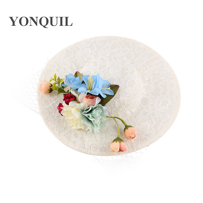 49a4ed7fd8001 30CM big size imitation Sinamay Fascinator Hats with silk flower and lace  Kentucky Derby bride Wedding Cocktail Church Hairclips-in Women s Hair  Accessories ...