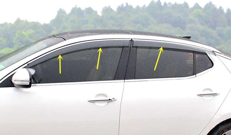 New Chrome stripes! Window Visor Sun Vent Deflector Guard for Kia Optima K5 2016 2017-in Interior Mouldings from Automobiles & Motorcycles    3