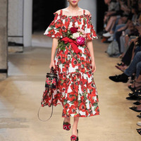 Banulin Fashion Runway Dress Summer Women's Slash Neck Dress Spaghetti Strap Rose Floral Print Sexy Party Elegant Dresses