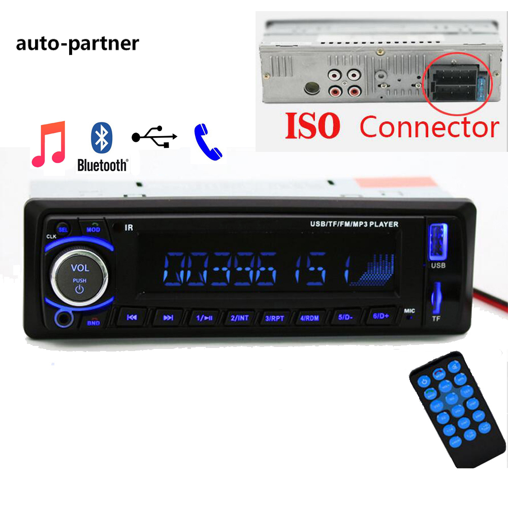 Auto rádio Rádio Do Carro 12 V Bluetooth V2.0 SD MP3 USB WMA Car Audio Stereo In-traço 1 Din FM Aux Receptor de Entrada