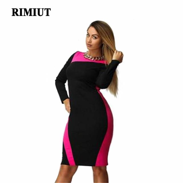 New Big size 6XL 2017 Summer Dress Casual long sleeve women Loose patchwork  dresses plus size a947da7eb17c